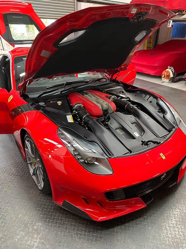 Ferrari F12 TDF engine detailing cleaning