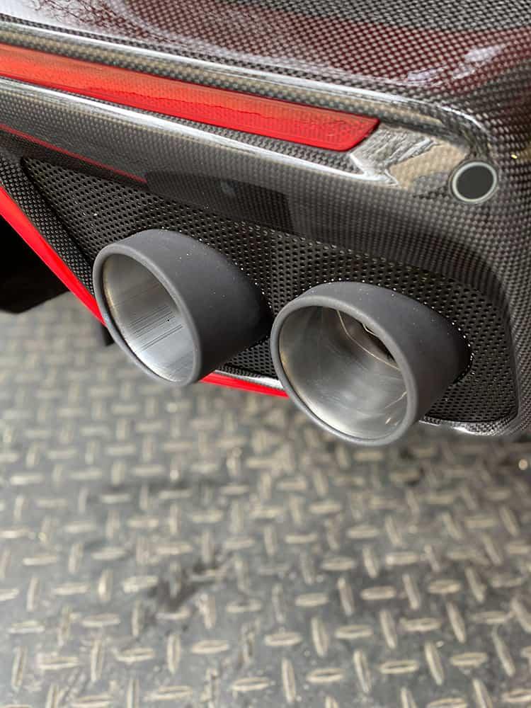 Ferrari F12 TDF exhaust cleaning