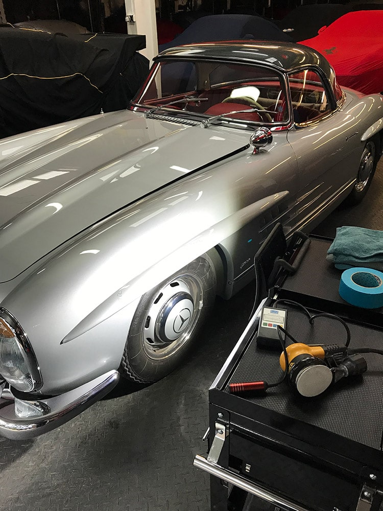 mercedes 300sl detailing inpsection